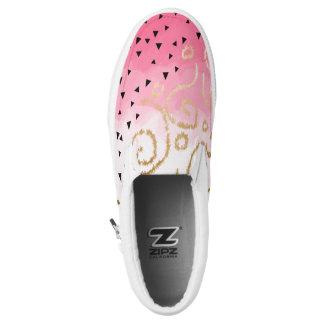 faux gold geometric pattern rose pink brushstrokes Slip-On shoes