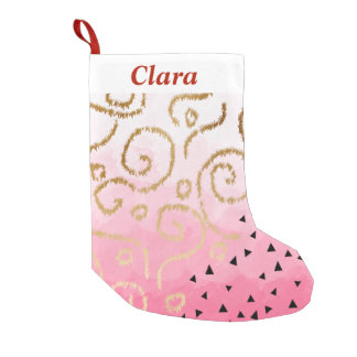 faux gold geometric pattern rose pink brushstrokes small christmas stocking