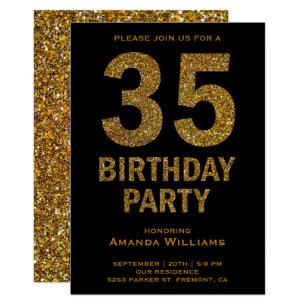 Black Gold 35th Gifts Birthday Invitations