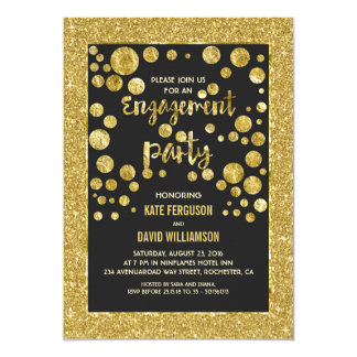 faux gold glitter and confetti engagement party card