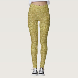 Faux Gold Glitter And Glamour Leggings