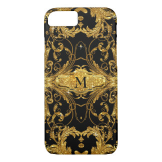 Faux Gold Glitter Art Nouveau Scroll Black Damask iPhone 7 Case