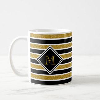 Faux Gold Glitter Black & White Stripes & Monogram Coffee Mug
