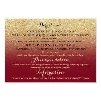 Faux gold glitter burgundy details wedding 9 cm x 13 cm invitation card