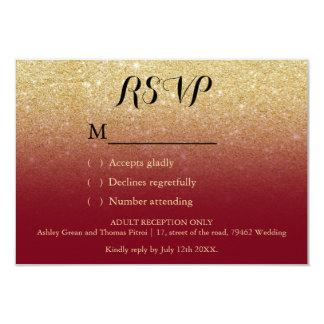 Faux gold glitter burgundy RSVP details wedding 9 Cm X 13 Cm Invitation Card