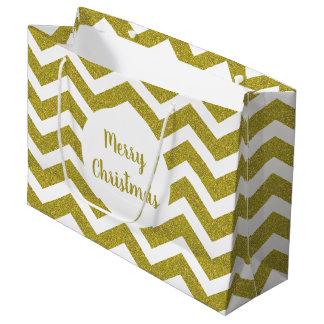 Faux Gold Glitter Chevron Gift Bag