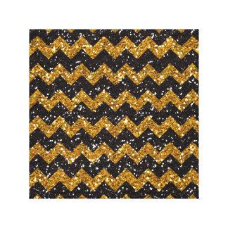 Faux Gold Glitter Chevron Pattern Black Glitter Canvas Print