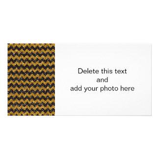 Faux Gold Glitter Chevron Pattern Black Glitter Personalized Photo Card