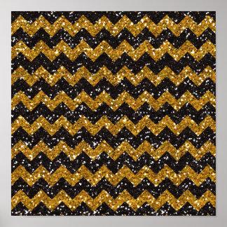 Faux Gold Glitter Chevron Pattern Black Glitter Print