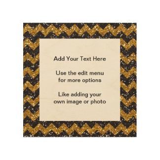 Faux Gold Glitter Chevron Pattern Black Glitter Wood Prints