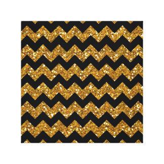 Faux Gold Glitter Chevron Pattern Black Solid Colo Canvas Prints