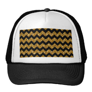 Faux Gold Glitter Chevron Pattern Black Solid Colo Trucker Hat