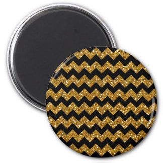 Faux Gold Glitter Chevron Pattern Black Solid Colo Magnets