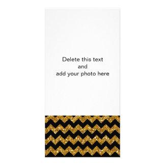 Faux Gold Glitter Chevron Pattern Black Solid Colo Photo Card