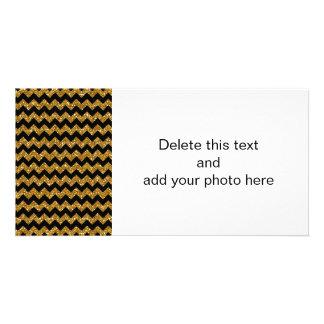 Faux Gold Glitter Chevron Pattern Black Solid Colo Custom Photo Card