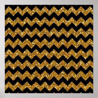 Faux Gold Glitter Chevron Pattern Black Solid Colo Print