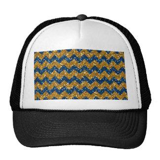 Faux Gold Glitter Chevron Pattern Navy Blue Glitte Mesh Hat