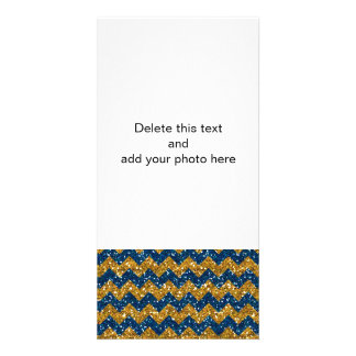 Faux Gold Glitter Chevron Pattern Navy Blue Glitte Photo Card Template