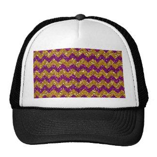 Faux Gold Glitter Chevron Pattern Purple Glitter Hats