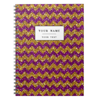 Faux Gold Glitter Chevron Pattern Purple Glitter Notebook