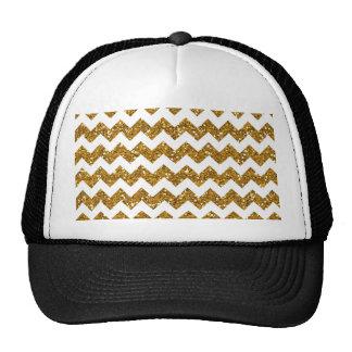 Faux Gold Glitter Chevron Pattern White Solid Hat