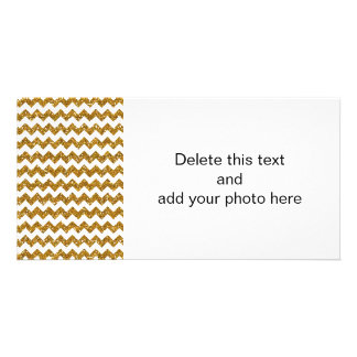 Faux Gold Glitter Chevron Pattern White Solid Picture Card