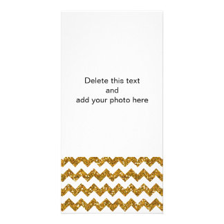 Faux Gold Glitter Chevron Pattern White Solid Photo Greeting Card