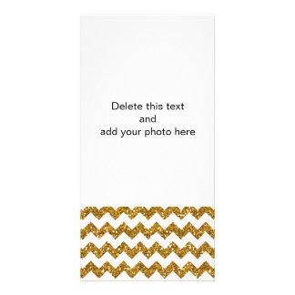 Faux Gold Glitter Chevron Pattern White Solid Photo Card