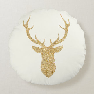 Faux Gold Glitter Christmas Deer Round Cushion