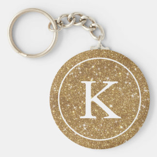 Faux Gold Glitter Circle | Monogram Initial Basic Round Button Key Ring