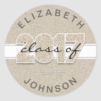Faux Gold Glitter Class of 2017 Personalized Classic Round Sticker
