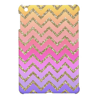 Faux Gold Glitter Colorful Chevron iPad Mini Case