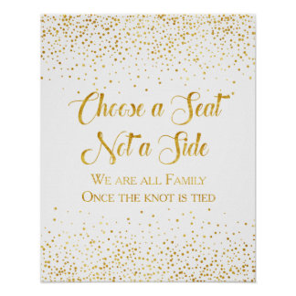 Faux Gold Glitter Confetti Wedding Seating Sign Poster