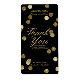 Faux Gold Glitter Confetti Wedding Wine Label Shipping Label