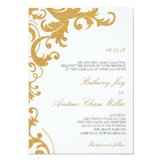 Faux Gold Glitter Elegant Damask Wedding Invite