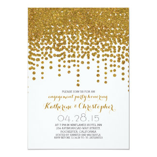 faux gold glitter foil confetti engagement party 13 cm x 18 cm invitation card