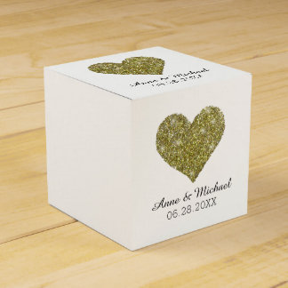 faux gold glitter heart of love / wedding favors favour boxes