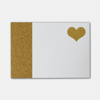 FAUX Gold Glitter Heart (printed flat) Post-it Notes