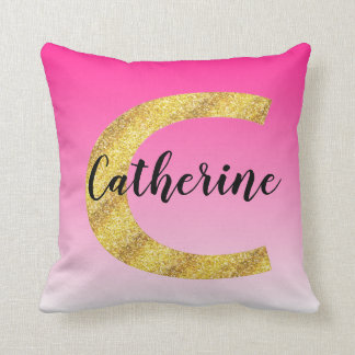 Faux Gold Glitter Initial Letter C Pink Gradient Cushion