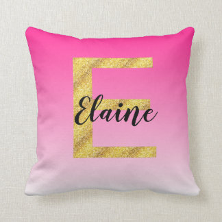 Faux Gold Glitter Initial Letter E Pink Gradient Cushion