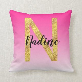 Faux Gold Glitter Initial Letter N Pink Gradient Cushion