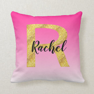 Faux Gold Glitter Initial Letter R Pink Gradient Cushion