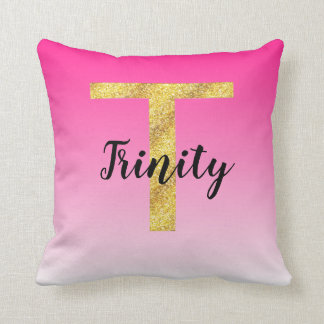 Faux Gold Glitter Initial Letter T Pink Gradient Cushion