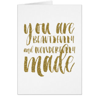 Faux Gold Glitter Inspirational Folded Note Card