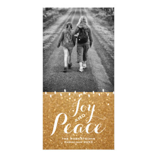 Faux Gold Glitter | Joy Peace Christmas Photo Card