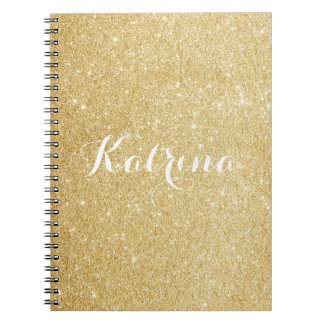 Faux Gold Glitter Modern Personalized Notebook