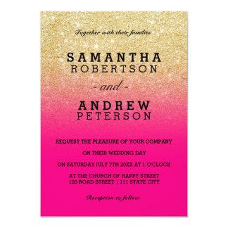 Faux gold glitter neon pink ombre wedding 13 cm x 18 cm invitation card