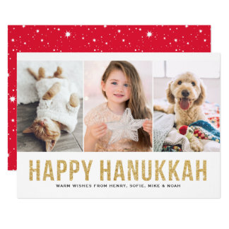 Faux Gold Glitter Photo Collage Happy Hanukkah Card