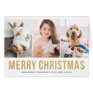 Faux Gold Glitter Photo Collage Merry Christmas Card
