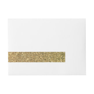 Faux Gold Glitter Photo Wraparound Address Label